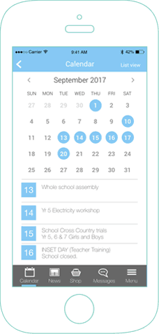 mySchoolApp Calendar – school app features