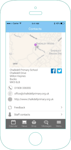 mySchoolApp Contact details – school app features