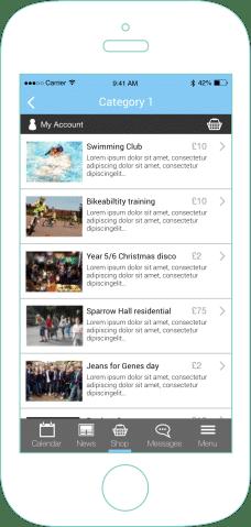 mySchoolApp Shop – school app features